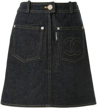 Chanel Pre Owned 1996 Straight Denim Skirt
