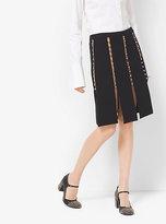Michael Kors Studded Wool Crepe Broadcloth Slashed Skirt