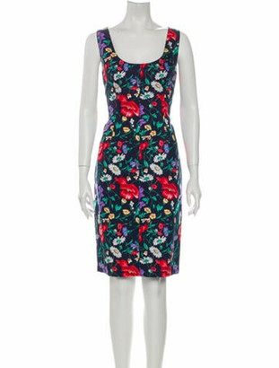Dolce & Gabbana Floral Print Knee-Length Dress Blue