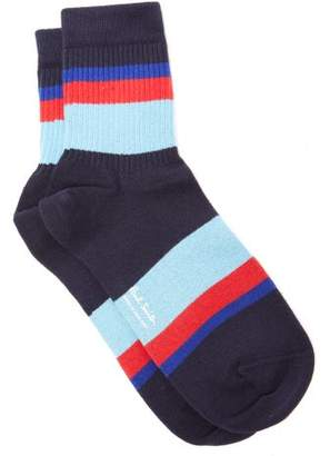 Paul Smith Striped Ribbed Edge Cotton Blend Socks - Mens - Navy Multi