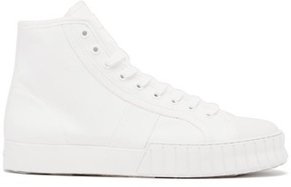 Primury Divid Hi Recycled Cotton-canvas Trainers - White