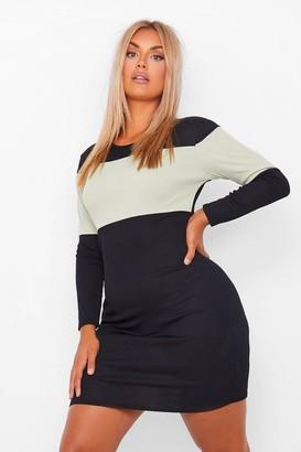 boohoo Plus Rib Stripe Mini Dress