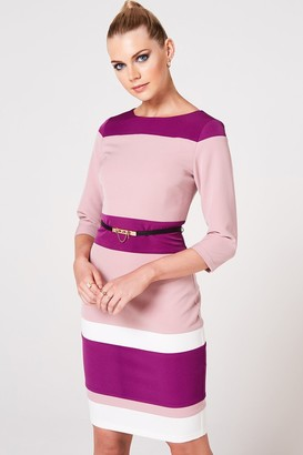 Paper Dolls Callow Dusty Blush And Orchid Colour Block Belted Dress