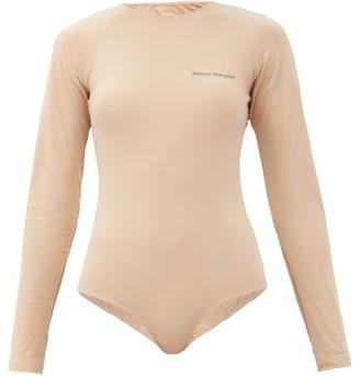 MM6 MAISON MARGIELA Logo-print Stretch-jersey Bodysuit - Beige
