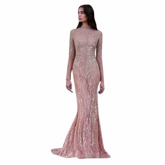 Younthone Women's Fishtail Dress Casual Long Sleeve Turtleneck Sequined Dress Slim Temperament Wedding Bride Bridesmaid Dress Cocktail Prom Evening Party Elegant Lady's Long Dress Pink