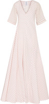 Rosie Assoulin Miss Direction striped stretch-cotton cloqué gown