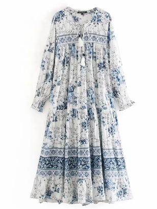 Goodnight Macaroon 'Fion' Tassel Tie Neck Blue Floral Maxi Dress