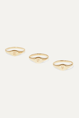 STONE AND STRAND Alphabet Mini Pinky Gold Ring - A 3
