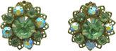 One Kings Lane Vintage Green Rhinestone Flower Earrings