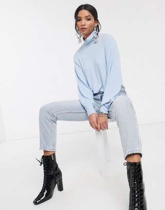 Bershka roll neck volume sleeved top in blue