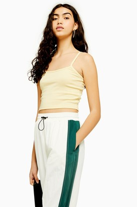 Topshop Womens Yellow Scallop Camisole Top - Lemon