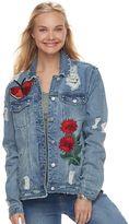Love, Fire Juniors' Oversized Embroidered Denim Jacket