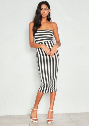 Ever New Astrid Black Stripe Bandeau Midi Dress