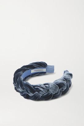 Jennifer Behr Lorelei Braided Velvet Headband - Blue