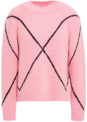 Sandro Brushed Intarsia-knit Sweater