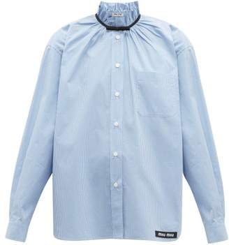 Miu Miu Gathered Gingham Cotton Shirt - Womens - Blue Multi