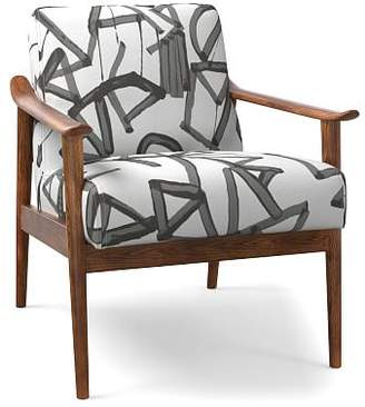 west elm Mid-Century Show Wood Chair - Lively Lines Print