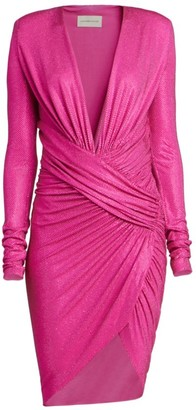 Alexandre Vauthier Long Sleeve Ruched Microcrystal Mini Dress