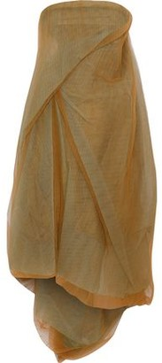 Rick Owens Strapless Gathered Plisse-tulle Midi Dress