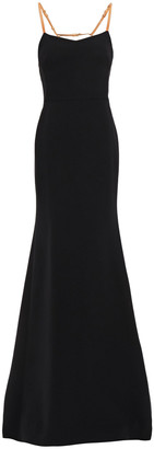 Victoria Beckham Open-back Leather-trimmed Wool And Silk-blend Gown
