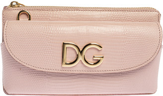 Dolce & Gabbana Light Pink Lizard Embossed Leather Logo Crossbody Bag