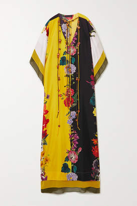 Oscar de la Renta Tie-detailed Floral-print Silk-satin Gown - Ivory