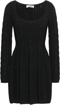 Valentino Crystal-embellished Cable-knit Mini Dress