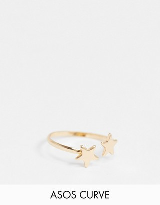 ASOS DESIGN Curve ring with star detail in gold tone