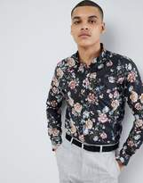 Selected Smart Shirt With All Over Print In Slim Fit
