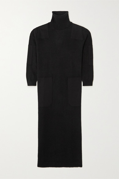 L.F. Markey Theodore Twill-trimmed Knitted Turtleneck Midi Dress - Black