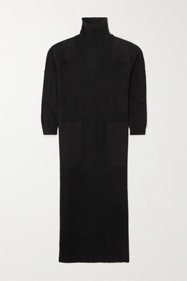 L.F.Markey - Theodore Twill-trimmed Knitted Turtleneck Midi Dress - Black