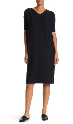 Lafayette 148 New York Elbow Sleeve Wool Dress