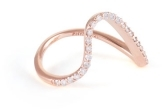 Paige Novick Single Curved Band Ring with Diamond Pave