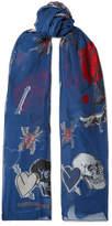 Alexander McQueen Fil Coupé Silk-blend Chiffon Scarf - Navy
