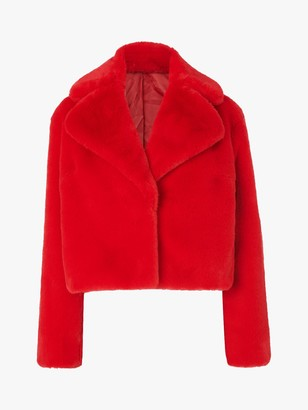 LK Bennett Ruby Faux Fur Short Coat, Red