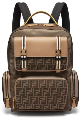 Fendi Ff Panelled Leather & Nylon Backpack - Brown Multi