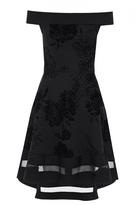 Quiz Black Glitter Flock Floral Print Bardot Dip Hem Dress
