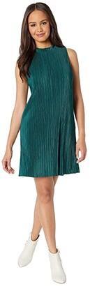 BB Dakota As You Pleats Micro Pleated Knit Dress (Winter Green) Women's Dress