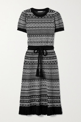 Alice + Olivia Alice Olivia - Julia Belted Fringed Wool-blend Jacquard Midi Dress - Black