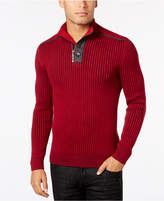 INC International Concepts Men's Quarter-Zip & Button Ribbed Sweater, Created for Macy's