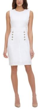 Tommy Hilfiger Petite Scuba-Crepe Button-Front Sheath Dress