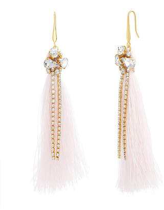 Catherine Malandrino Women White Rhinestone Yellow Gold-Tone Pink Tassel Earrings
