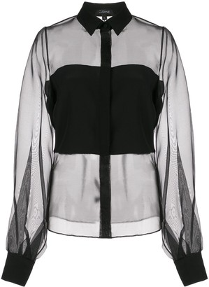 Cushnie Sheer Bell Sleeve Shirt