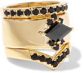Noir Jack Frost set of three gold-plated crystal rings