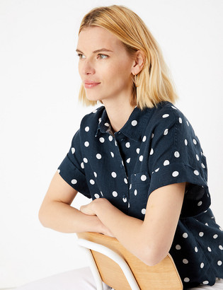 Marks and Spencer Pure Linen Polka Dot Shirt