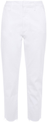 Mother The Tomcat Prep Cropped Stretch-twill Straight-leg Pants