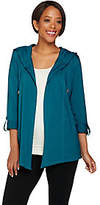 Susan Graver Weekend Cotton Modal Open FrontHooded Cardigan