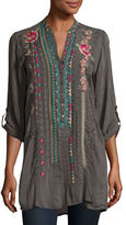 Johnny Was Joulette Rolled-Sleeve Embroidered Tunic