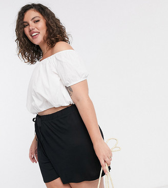 ASOS DESIGN Curve flippy short with drawcord in black