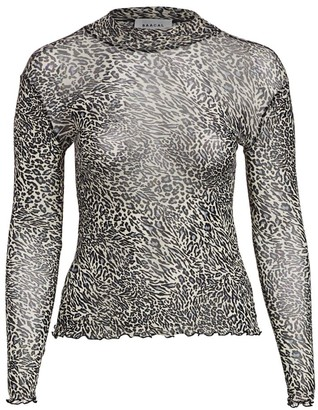 Baacal, Plus Size Leopard-Print Mesh-Knit Mockneck Top